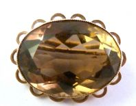 Vintage 9ct Gold Smoky Quartz Gemstone Brooch.
